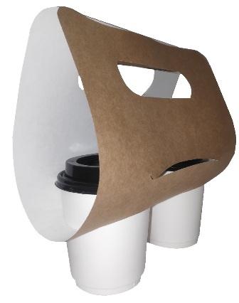 Переноска для 2 стаканов, картон, крафт, 390х215 мм, h 115 мм