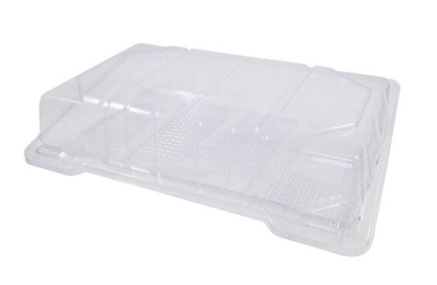 Упаковка 600 мл 220х130х45 мм прозрачная, ПЭТ (крышка откидная)