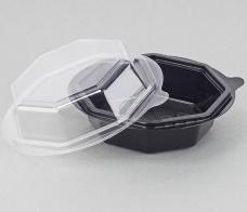 Контейнер Salat-Box 900 мл d-160 мм восьмиугольный чёрный, ПП (крышка 230656)