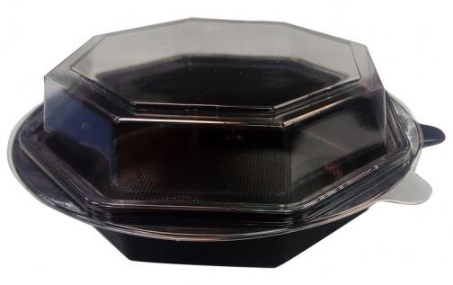 Контейнер Salat-Box 1400 мл d-190 мм восьмиугольный чёрный, ПП (крышка 230664)