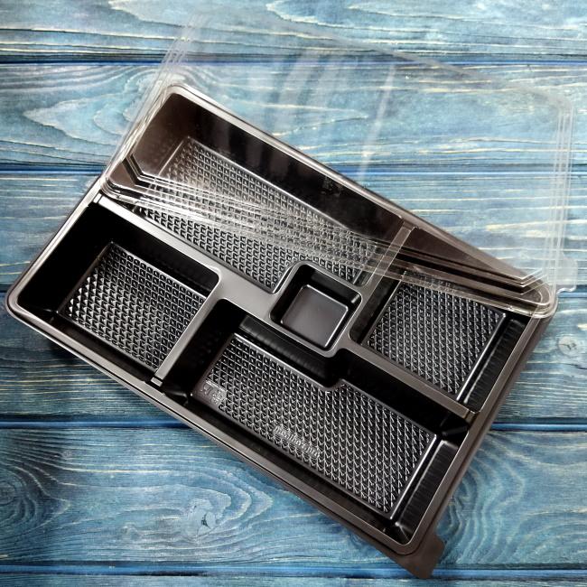 Контейнер Bento-Box 296х194х55 мм 5 секций чёрный, ПС (крышка 230691)