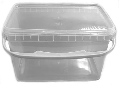 Ведро 2 литра прозрачное 185х125 мм h 116 мм с ручкой, плотный ПП (крышка в комплекте)
