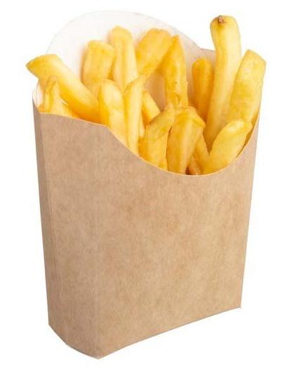 Коробка для картофеля фри на 120 гр 84х54х120 мм крафт без печати